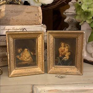 Pair of small vintage religious art paintings